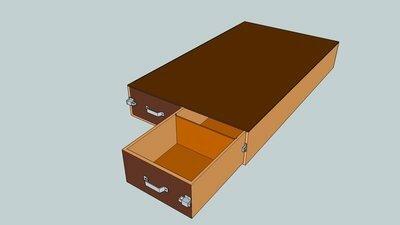 Bodembak achterdeuroptie met 2 laden met rol-elementen