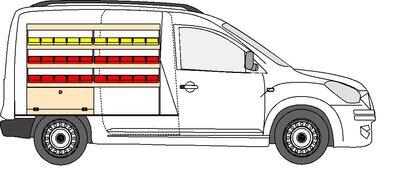 A1 Linkerzijde rode en gele grijpbakken Dacia Dokker